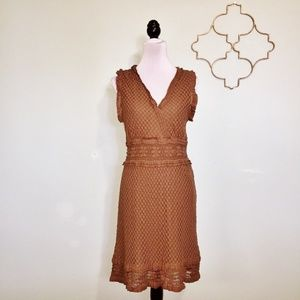 Max Studio brown dotted lace dress